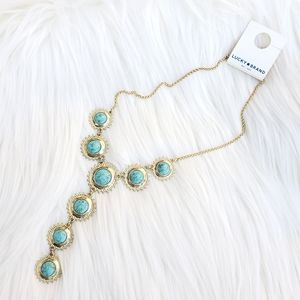 Lucky Brand Turquoise Gold Lariat Necklace